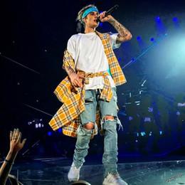 2019 jaunes Justin Bieber Jaune Plaid Shirt Hommes Salut-Lo Hem Coton Longues Chemises Printemps À Manches Longues Chemise Décontractée Top Hip Hop Streetwear YYF1121 jaunes pas cher