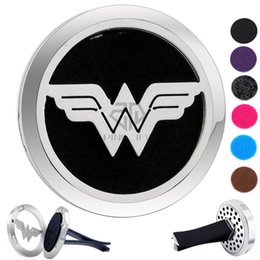 Wholesale White Gold Filled Locket - Rould Silver Wonder Woman (38mm) Magnet Diffuser Car aromatherapy Locket Free Pads Essential Oil 316 Stainless Steel Car Diffuser Lockets