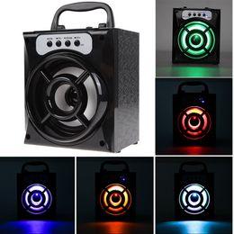 Перезаряжаемый светодиодный квадрат онлайн-Bluetooth громкоговорители Sound Box MS-132BT портативный квадратный аккумуляторная бас спикер со светодиодной подсветкой MP3 спикер аудио плеер с пакетом