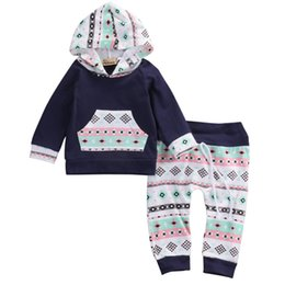 Wholesale Navy Girl Leggings - Newborn Baby Girl Boy Clothes Navy Blue Long Sleeve Hooded Tops T-shirt+Floral Pants Leggings Cotton Baby Outfits Set