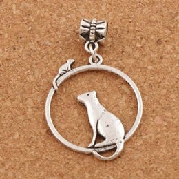 Wholesale Silver Round Beads Rings - Mouse Cat On One Ring Big Hole Beads 100pcs lot Antique Silver Dangle 26x42 mm Fit European Charm Bracelets B032