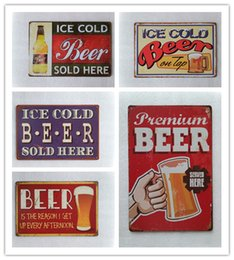 Wholesale Premium Ice - Premium Beer ice cold Vintage home Bar Pub Hotel Restaurant Coffee Shop home Decorative Metal Retro Tin Sign
