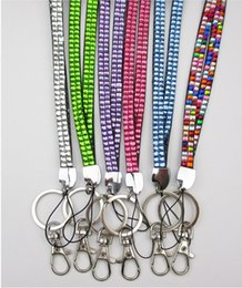 Wholesale Lanyards Crystals - 50pcs Bling Lanyard Crystal Rhinestone in Neck With Claw Clasp ID Badge Holder with job card usually cannot choose