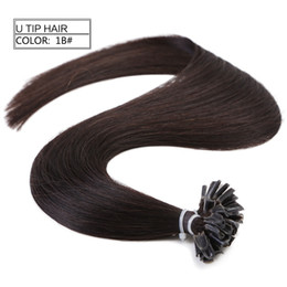 Wholesale Indian Remy Keratin Black - Neitsi 16'' 50g lot Pre-bonded Hair Extensions Keratin U Nail Tip Indian Remy Hair Straight Real Human Hair Pieces Natural Black