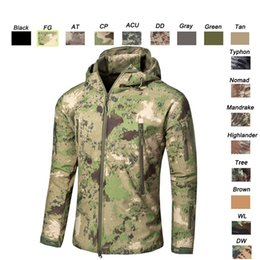 Wholesale Pink Tactical Camo - Outdoor Woodland Hunting Shooting Clothing Tactical Camo Coat Combat Clothing Camouflage Windbreaker Softshell Outdoor Jacket SO05-201