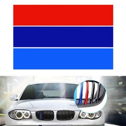 Wholesale M Decals - 1set PVC Front Grill Stripes Decals M Power Sport Stickers for BMW M3 M5 M6 E46 E39 E60 E90 CDE_00H