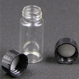 Wholesale Glass Reagent Bottles - 10ml glass vials with black white screw top, 10cc mini tubular glass bottle for liquid use Reagent bottle fast shipping F2017599