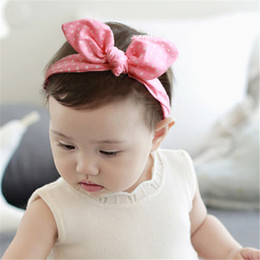Wholesale Korean Scarves Wholesale - Korean Fashion Kids Children Hair Ornaments Lattice Rabbit Ears Scarf Hair Accessories Girls And Boys Headbands Children Lovely Bow Hairband