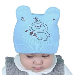 Wholesale Knit Crochet Baby Patterns - 2017 baby Unisex Knit Beanies Ear Hats Kids Child Cartoon Pattern Printed Winter Warm Cuffed Caps Skullcap MZ5000