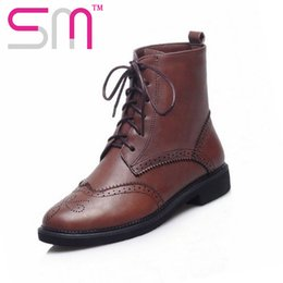 Wholesale Ties Up Ankle Boots - Wholesale-Low Heels Martin Boots Platform Shoes Autumn Winter Boots Martin Boots Shoes Woman 34-43 Brand Cross tie Cutouts Ankle Boot