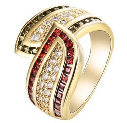 Wholesale 14kt Gold Wholesale - Wholesale 14kt Gold Filled Fashion Garnet & Olivine Wedding Set Rings Jewelery Bride Size 6 7 8 9