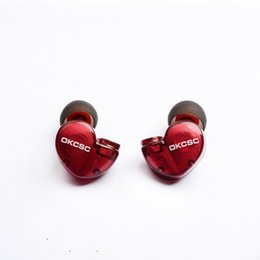 Wholesale D3 Case - OKCSC D3 MMCX Jack 1BA+1DD Hybrid Dual Earphone DIY Earbuds Canal Balanced Armature Headset With Wooden case