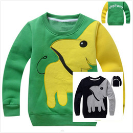 Wholesale Little Girls Shirts Wholesale - Spring Fall Children Jumper Hoody Little Girls Boys Cartoon Elephant Tops Pullover Kids Baby Cotton Long Sleeve Clothes T-shirts For 1-5T