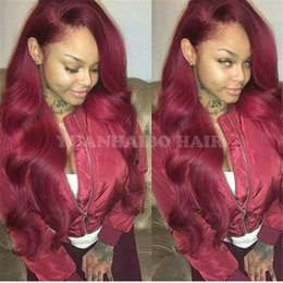 Wholesale 99j Human Hair Lace Wig - Celebrity Wig 99j virgin peruvian human hair body wave burgundy lace front wig can ponytail free shipping