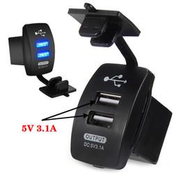 adaptador de luz de carro 12v Desconto Venda por atacado - Motorcycle carro 2Dual porta USB Power Adapter fonte de alimentação 3.1A 5V Carregador Soquete EUA PLUGUE 12V-24V Luz Azul para Iphone Phone GPS
