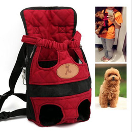 Wholesale Dog Backpack Large - Dog carrier fashion red color Travel dog backpack breathable pet bags shoulder pet puppy carrier
