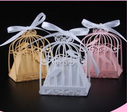 Wholesale Laser Cut Paper Birdcages - 50pcs Birdcage Laser Cut Wedding Box Love Birds Candy Box Gift Box Wedding Gifts And Favors Party Supplies Wedding Decorations