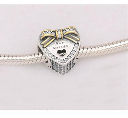 Wholesale Bracelet Gold Music - Newest beads DIY100% 925 Sterling Silver gold plated bow with cz heart just married charm fit pandora Bracelet Women Jewelry 2017 style