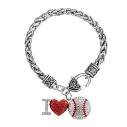 Wholesale Bracelet Thick - zinc alloy rhodium plated crystal enamel sport charm I love baseball Sports mental Thick Wheat Chain bracelets with Lobster clow clasps