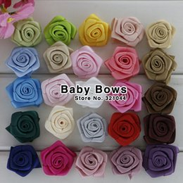 Wholesale Satin Ribbon Bows For Decoration - 1.5 inch Rolled Round rosettes flower Satin silk hair flower for baby hair handmade decoration rose flower 200 pcs lot MG007