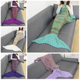 Wholesale couch blankets - Mermaid Tail Blanket 180*90cm Hand Knitting Color Grid Crochet Wrap Warm Soft Knitted Wrap Sofa Couch Bed Car Blankets OOA3556