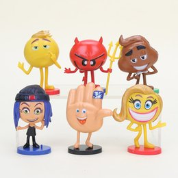 Wholesale Hi Ice - 6pcs set Hot Emoji Movie Action Figures Hi-5 Jailbreak Gene Poop Ice Cream Mel Meh Poop Daddy Model Toys