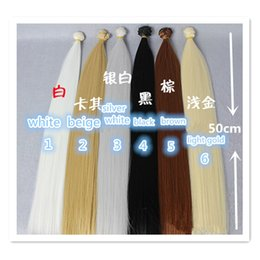 Wholesale Wholesale Bjd Wig - 50cm*100CM Doll Wigs Straight Long Hair High-Temperature Wire Wig Hair for 1 3 1 4 BJD SD Dolls,Fashion Doll Accessories 10 Pcs