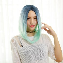 Wholesale Cosplay Lolita Wigs White - Diy-Wig Beautiful Mermaid Blue Mixed White Wigs Multi-Color Long Curly Wave Oblique Bangs Cosplay Full lolita Wigs Straight hair mixed color
