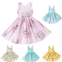 Wholesale Boat Tanks - New Girls Printed Floral Dress Children Tank Cotton Princess Party Wedding Pleated Dresses Summer Kids Baby Clothing 5 Colors WX-D25