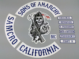 Wholesale Embroidered Iron - 13pcs Lot Son Of Anarchy Embroidered Patches Jacket iron patches for clothing
