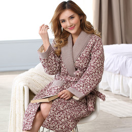 Wholesale Home Woman Pajamas - Wholesale- Peignoir home women robe Russia Winter long-sleeved knit cotton jacket folder thick cotton bathrobes female robe quilted pajamas