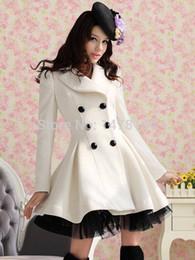 Wholesale Double Breasted Lace Coat - Wholesale- Fashion Princess Womens Lolita Cute Gothic Coat long Lace White Jacket Parka Windbreaker chaqueta veste