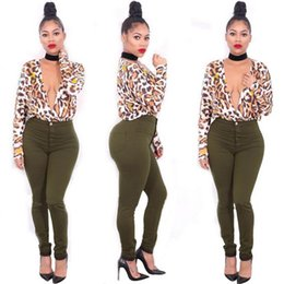 Wholesale Ladies Blouses Leopard Print - Women Sexy Summer Chiffon Blouse Leopard Color Deep V-Neck Long Sleeves Tops Ladies Fashion Evening Printed Hot EUR Style Blouses