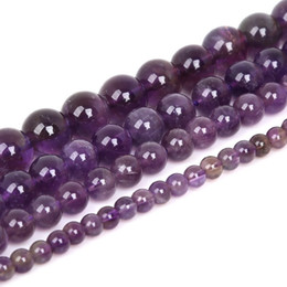 "Wholesale Amethyst 15 - New Promotion Amethyst Beads Fashion Natural Purple Round Crystal Stone Beads 15"" for DIY Jewelry Making 4mm 6mm 8mm 10mm 12mm Loose Bead"