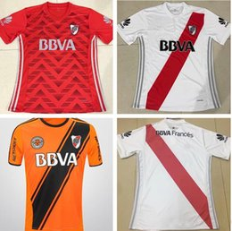Wholesale Xl Plate L - Top Thai quality 17 18 RIVER PLATE White Soccer Jersey TEO D,ALESSANDRO BALANTA CAVENAGHI VANGIONI 2017 River Plate AWAY red Football shirt