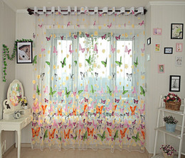 Wholesale Embroidered Sheer Curtains - Butterfly Kitchen Curtains Tulle for Balcony Panel Screen Sheer Curtains for Living room Bedroom Window Embroidered Roman Curtain Drapes