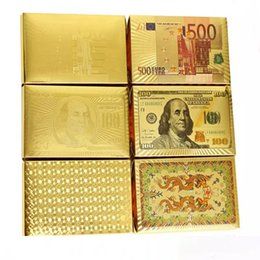 Wholesale Kids Play Toys Wholesalers - 24K Karat Gold Foil Plated Poker Playing Cards Plastic Poker Waterproof High Quality US dollar Euro Style Certified Card DHL Free