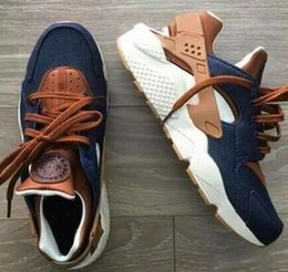 Wholesale Custom Shoe Boxes - 2017 Huarache ID Custom Breathe Running Shoes Men Women navy blue tan Air Huaraches Multicolor Sneakers Athletic Trainers With Box
