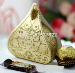 Wholesale card backing papers - Hershey's Candy Boxes Romantic Gold Peach Heart Wedding Favours Box Water Droplet Gift Boxes Wedding Party Supplies