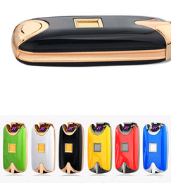 Wholesale Arc Green - Newest fashion and hot selling USB Electric Dual Arc Metal Flameless fingerprint Rechargeable Windproof Lighter