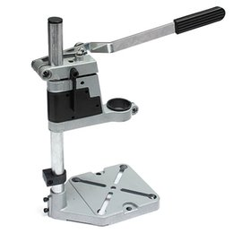 Wholesale Drill Press Drilling - Wholesale- Dremel Electric Drill Stand Double Clamp Base Frame Drill Holder Power Rotary Tools Accessories Bench Drill Press Stand DIY Tool