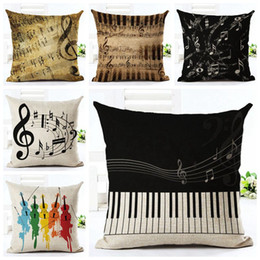 Wholesale Square Guitar Case - music notes cushion cover vintage linen throw pillow case guitar capa almofadas vintage piano cojines shabby chic home decor