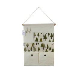 Wholesale Hanging Door Pocket Organizer - Cotton Linen Over Wall Door Bag Closet Window Hanging Storage Case Organizer Bag with Hooks 7-Pockets (Tree)