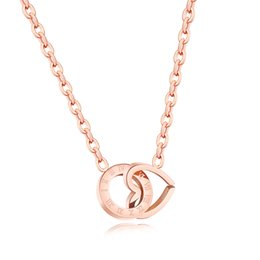Wholesale Handcuff Keys - Women Stainless Steel Heart Key Zircon Pendant Necklace Rose Gold Clover Handcuffs Dragonfly Pendants Necklaces Clavicle Chain Chokers Gift