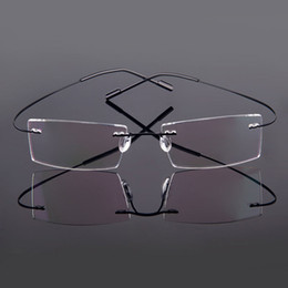 Wholesale Wholesale Designer Optical Frames - Wholesale- 518 Designer Brand Style Flexible Memory Metal Rimless Eyeglasses Frame for Men and Women Glasses Optical Frame