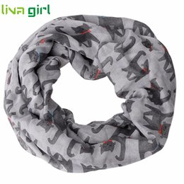 Wholesale Cute Shawls Scarves - Wholesale- Women Fashion Cute Cat Pattern Print Voile Ring Scarf Lady Girls Autumn Winter Warm Circle Wrap Shawl Scarves Windbreak Dec14