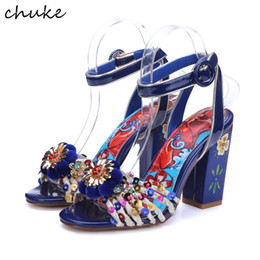 Wholesale Colored Rhinestone Heel Shoe - Bohemia Colored Drawing Fashion High Heels Sandals Flower Rhinestone Ethnic Wedding Shoes Bling Intersprse Women Sandals