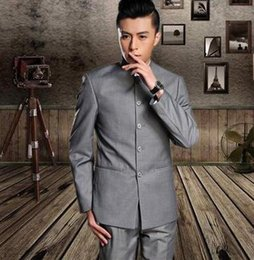 Wholesale Coats Chinese Collars - Blazer men formal dress latest coat pant designs stand collar chinese tunic suit suit men wedding suits for men's black grey