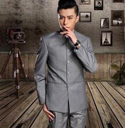 Wholesale Long Dress For Wedding Coat - Blazer men formal dress latest coat pant designs stand collar chinese tunic suit suit men wedding suits for men's black grey