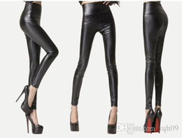 Wholesale Sexy Skinny Jeans - Free shipping sexy women's skinny high waisted leather leggings Matt nine pants factory direct thin Leggings slim jeans and big size